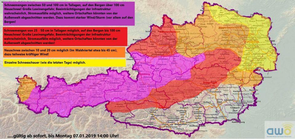 Während man in unserer Region nur mit ein paar Schneeschauern rechnen darf/muss sieht es in den bergigen Gegenden von Österreich ganz anders aus. Einen geplanten Skiausflug oder eine geplante Skitour am Wochenende sollte man sich sehr gut überlegen! <br />Quelle: Aktuelle Wetterwarnungen für Österreich