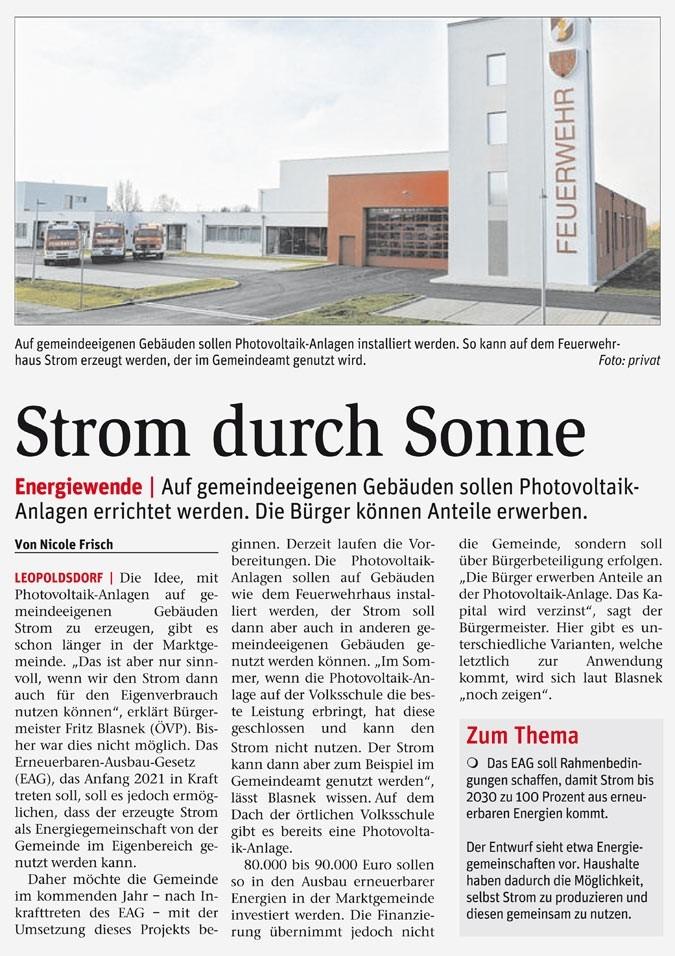 Storm durch Sonne (Pressespiegel)Veröffentlicht in der NÖN vom 25.11.2020