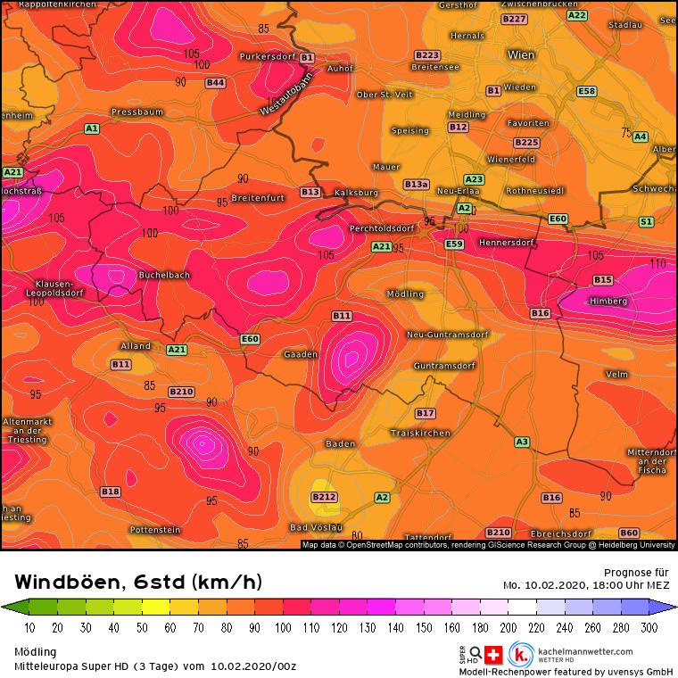 Prognose Sturmtief #Sabine Montag 10.02.2020 - 13 bis 18 UhrQuelle: Kachelmannwetter